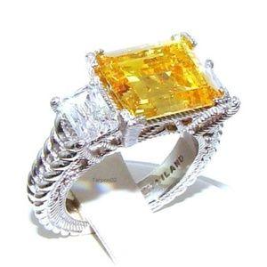 Judith Ripka  Diamonique Silver Ring Size 5.5